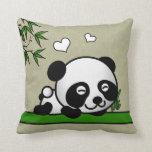 Unsuspecting Panda Throw Pillows