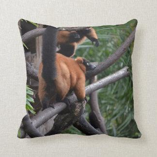 Unsuspecting Red ruffed lemur on branch Pillow