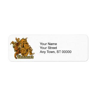 untamed tiger grunge vector art design return address label
