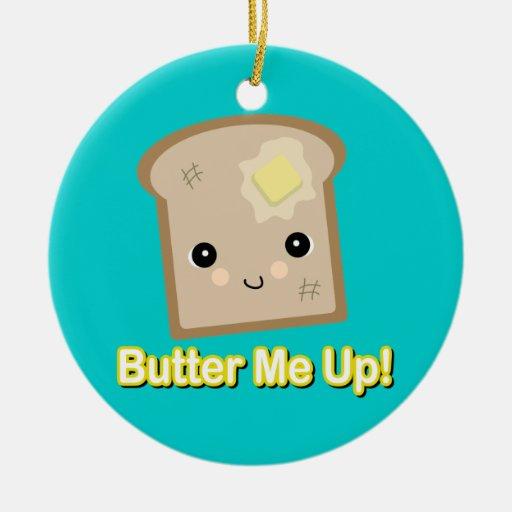 únteme con mantequilla encima de tostada adorno navideño redondo de cerámica