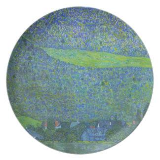 Unterach en el Attersee de Gustavo Klimt Plato Para Fiesta