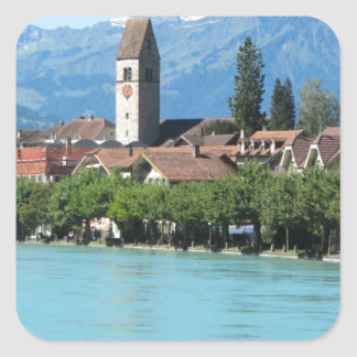 Unterseen, church and village Interlaken Square Sticker