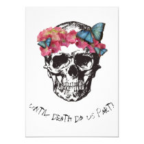 Until Death Do Us Part  Skull Hibiscus Butterflies Invitation