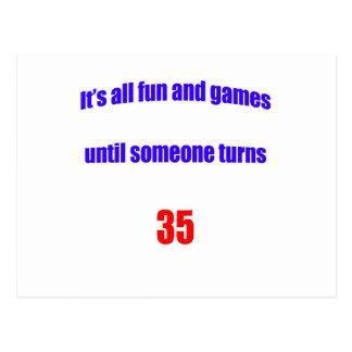 Until someone turns 35 postcard
