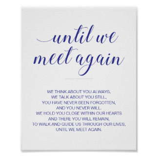 Until We Meet Again Wedding Navy Blue Memorial Poster