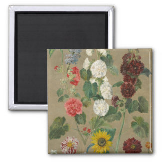 Untitled (Flowers) (oil on board) 2 Inch Square Magnet