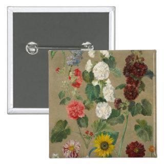 Untitled (Flowers) (oil on board) Pinback Button