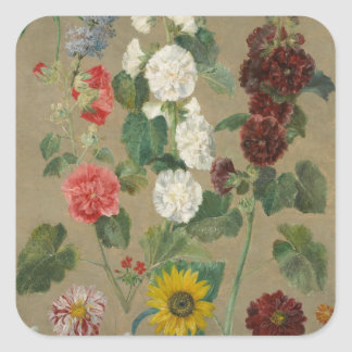 Untitled (Flowers) (oil on board) Square Sticker