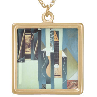 Untitled (oil on canvas) square pendant necklace