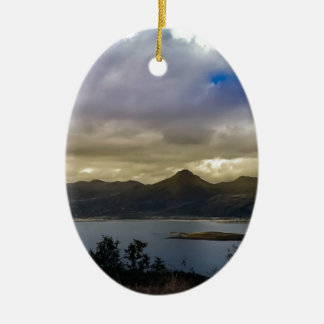 Untitled Double-Sided Oval Ceramic Christmas Ornament