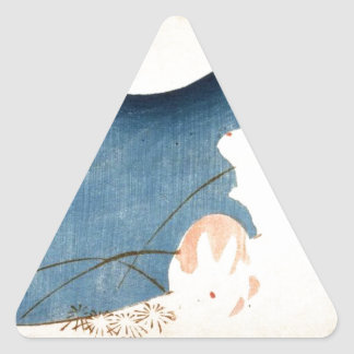 Untitled (Two Rabbits, Pampas Grass, and Full Moon Triangle Sticker