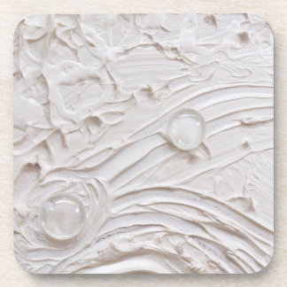 Untitled White Abstract Painting with glass beads Beverage Coaster