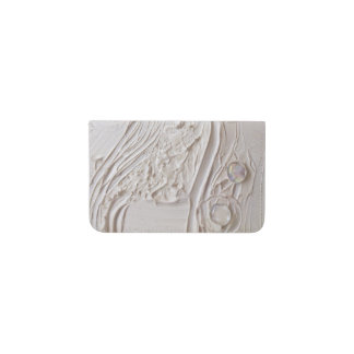 Untitled White Abstract Painting with glass beads Business Card Holder