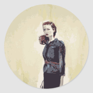 Untitled Woman with Red Purse Classic Round Sticker