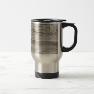 Untreated wood structure as background texture travel mug