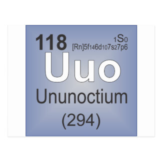Ununoctium Individual Element - Periodic Table Postcard