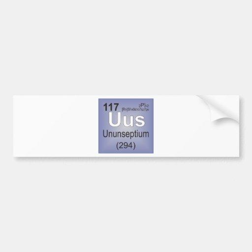 Ununseptium Individual Element - Periodic Table Car Bumper Sticker