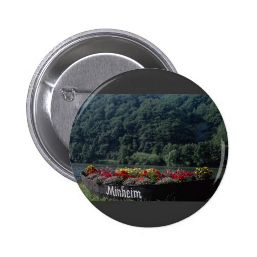 Unused boat used as flower bed, Mannheim, Germany 2 Inch Round Button