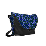 unusual blue and green leopard skin print commuter bag