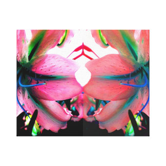 Unusual Bright Mirrored Pop Art Lilly Flowers Canvas Print