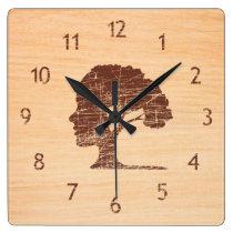 Unusual contemporary decorative rustic wood tree square wall clock