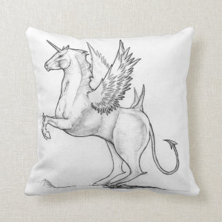 Unusual demonic Unicorn sketch design Throw Pillow