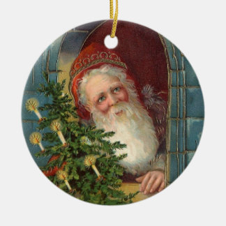 Unusual elegant santa with tree & candles ceramic ornament