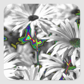 unusual flowers, effect square sticker