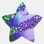 Unusual Leopard Print in Tropical Colors Star Sticker