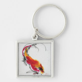 Unusual Rooster. Calligraphy and watercolor. Key Chains