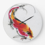 Unusual Rooster. Calligraphy and watercolor. Large Clock