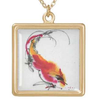 Unusual Rooster. Calligraphy and watercolor. Square Pendant Necklace