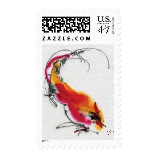 Unusual Rooster. Calligraphy and watercolor. Postage