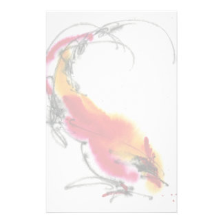 Unusual Rooster. Calligraphy and watercolor. Stationery