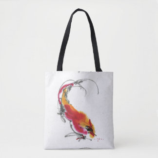 Unusual Rooster. Calligraphy and watercolor. Tote Bag