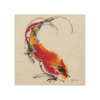Unusual Rooster. Calligraphy and watercolor. Wood Wall Decor