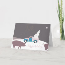 Unusual Truck and Christmas Tree Greetings Card