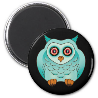 Unusual Turquoise Owl 2 Inch Round Magnet