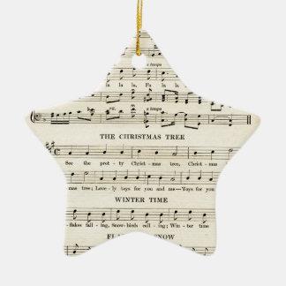 Unusual Vintage Christmas Music Sheet Songs Ceramic Ornament