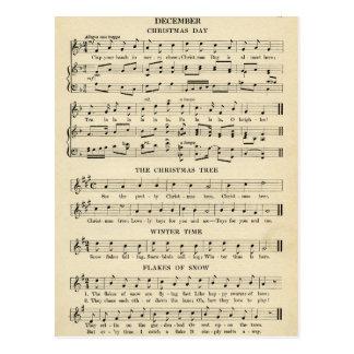 Unusual Vintage Christmas Music Sheet Songs Postcard
