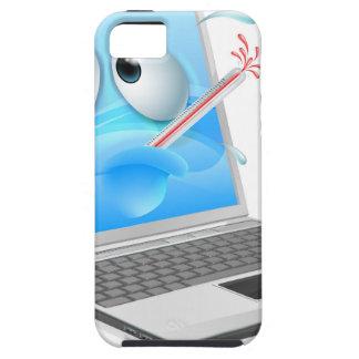 Unwell laptop computer virus cartoon iPhone 5 cases