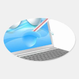 Unwell laptop computer virus cartoon sticker
