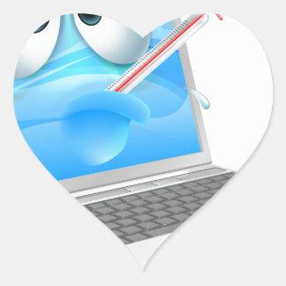Unwell laptop computer virus cartoon heart sticker