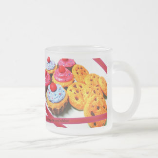 Unwrap the red ribbon. frosted glass coffee mug