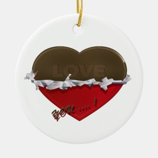 unwrapped chocolate heart love you ceramic ornament