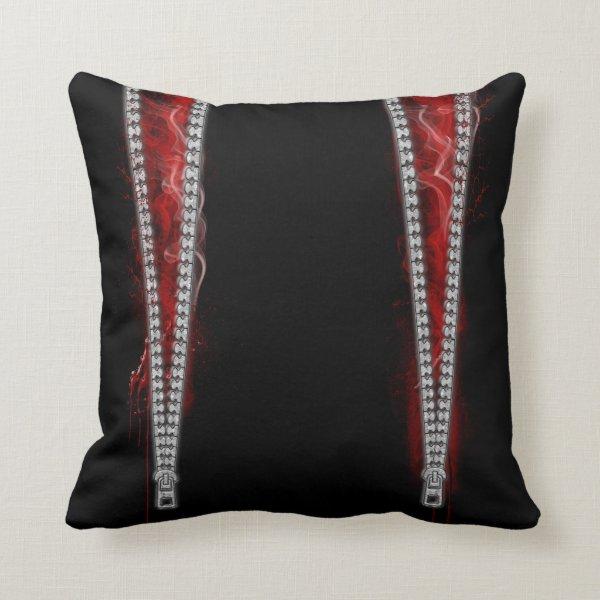 Unzipped Goth Horror Throw Pillow