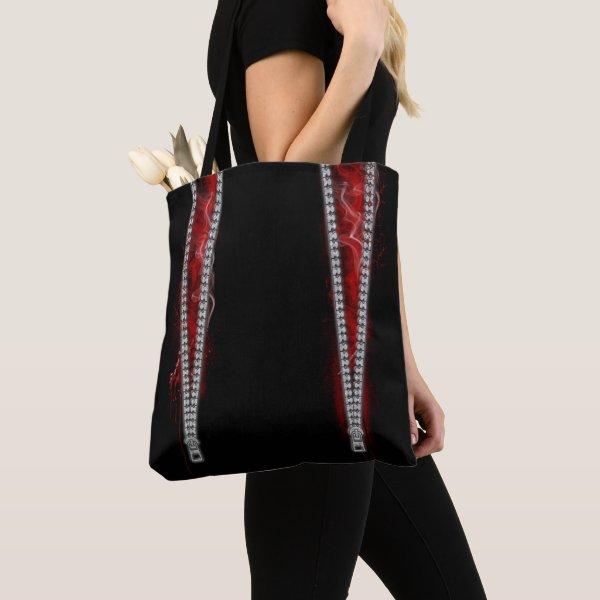 Unzipped Goth Horror Tote Bag