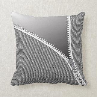 unzipped jeans print pillow - grey