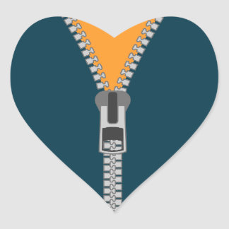 unzipped zipper heart sticker