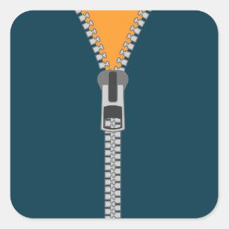 unzipped zipper square sticker